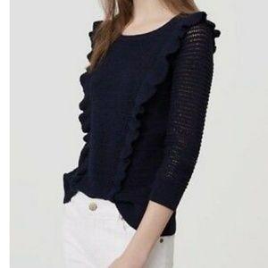 New Navy Blue Ruffle Sweater size Large